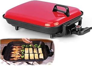 CHUIX Múltiples Funciones eléctrico para Hornear Pan Fish Grill Barbacoa sin Humo Antiadherente Barbacoa Placa Maifanshi Buena Horno Horno, Rojo