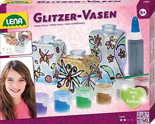 Lena 42693 Bastelset Glitzer-Vasen, Komplettset mit 3 kleinen Flacons aus Kunststoff, 6 glitzernden Farben, Malpinsel, Konturenpaste und Deko Steine, Glasmalerei Set für Kinder ab 8 Jahre
