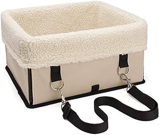 Perro de mascota Asiento de coche Portador Plegable Seguridad portátil Multifunción Impulsor de coche Cama de viaje Impermeable (Color : Beige)