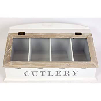 SIL Caja de madera para cubiertos de trabajo Blanco: Amazon.es: Hogar