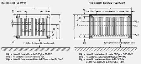 C-profiliert mit Wandbefestigungsset FEX 500 BH x vers. Flachheizk/örper Buderus Logatrend Typ 11 BL: 1000