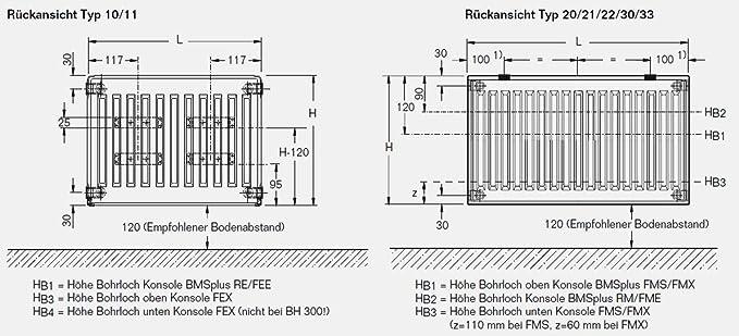 BL: 800 mm Buderus Logatrend Kompakt-Flachheizk/örper C-Profil Typ 22 BH 300 vers Halter L/ängen