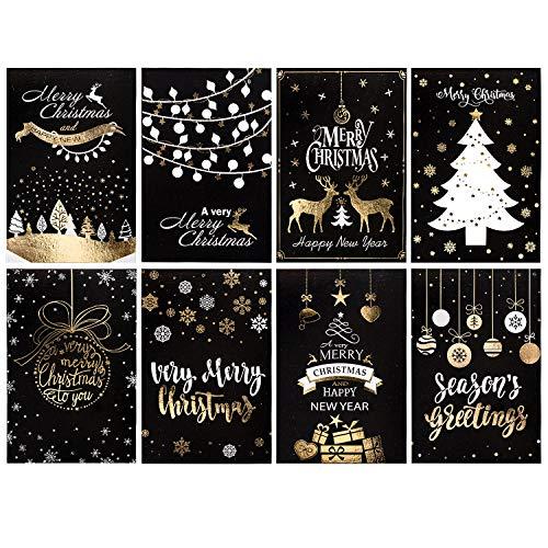 Whaline 32 Pack Biglietti D'Auguri Natalizi Neri Con 32 Pezzi Buste Bianche E 32 Adesivi, Cartoline Di Natale Per Vacanze Invernali, Natale, Capodanno, Regali Per Le Vacanze, 8 Disegni