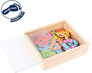 Small Foot Wooden Toys, Colorful Wooden Magnetic Letters in A Travel Box 37Piece for Learning The Alphabet & Spelling First Words Educational Toy Designed for Ages 3+