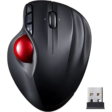 Sanwa Direct 400-MA073BK Wireless Trackball, Ergonomic Laser Count, Auto-Adjustment, 6 Buttons, Black