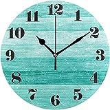 Reloj de Pared, silencioso, sin tictac, Redondo, Verde Azulado, Turquesa, Verde, Madera, Arte Decorativo, Reloj para Sala de Estar, Dormitorio, Oficina