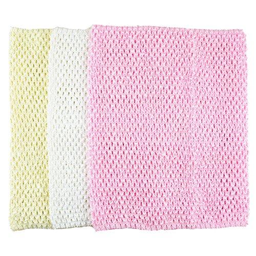 BERON Pack of 3 12 Inch Handmade Baby Girl Silk Crochet Tutu Tube Top Chest Wrap for Toddler Infants(AID05-D)