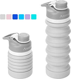 Anntrue Collapsible Water Bottle BPA Free, FDA Approved Food-Grade Silicone Portable Leak Proof Travel Water Bottle, 20oz
