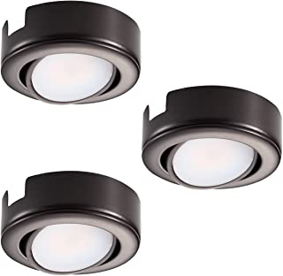 GetInLight Dimmable and Swivel, LED Puck Lights with ETL List, Recessed or Surface Mount Design, Warm White 2700K, Bronze Finish, (Pack of 3), IN-0107-3-BZ