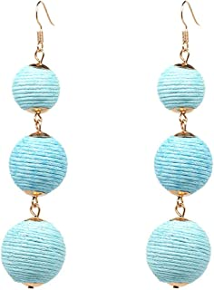 Thread Ball Dangle Earrings Tassel Drop Earring Beaded Lantern Ear Stud Women Linear Tribal Charm Jewelry
