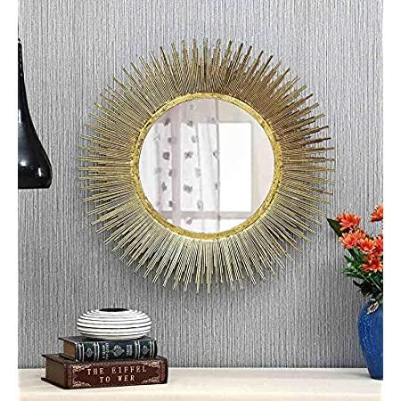 Vedas Exports Gold Iron Gabe Mirror Wall Decorative Home Living Room Decor (Size 22 x 22 inches)
