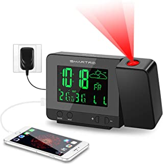SMARTRO SC31B Digital Projection Alarm Clock with Weather Station, Indoor Outdoor..