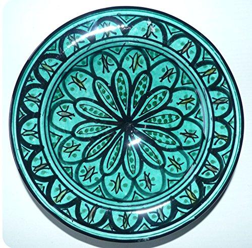 Orientalischer Keramik Teller handbemalt marokkanische Keramikschüssel Wandteller mittel Color Grün