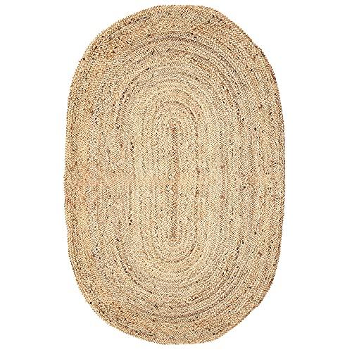 Oval Jute Teppich 182x121 cm - Large Wendbare Dekorative Geflochtene Naturfasern Bio-freundliche Hall Runner 0utdoor Teppich Balkon Wohnzimmer Juteteppich