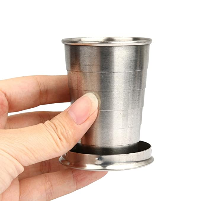 Stainless Steel Telescopic Collapsible Shot Glass Emergency Pocket Cup YW
