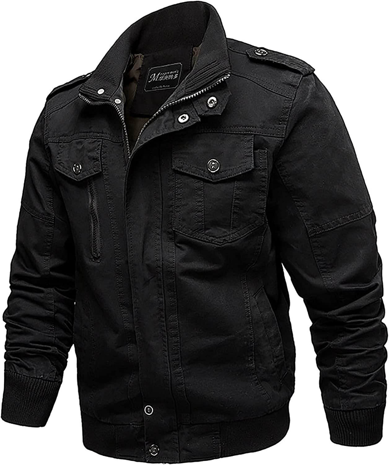 Men's Cotton Jackets Military Cargo Bomber Working Jackets with Multi Pockets Hiking Skiing Warm Coats