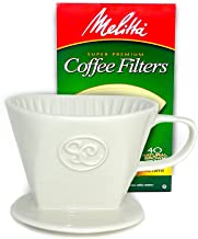 Pour Over Coffee Dripper – Single Cup Ceramic Coffee Maker with 40 Count Melitta..