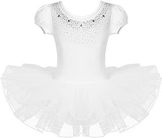 inlzdz 2PCS Children Girls Lace Mock Neck Ballet Dance Crop Top with Bottoms Gymnastic Outfit Leotard Dance wear