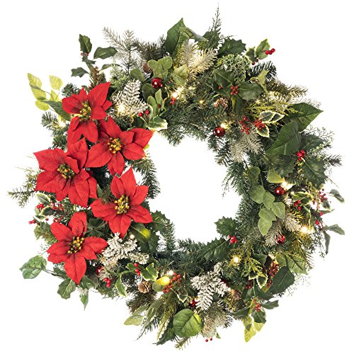 Battery Powered Christmas Wreath design with Poinsettia flower