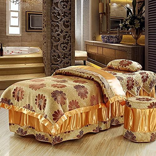 Juego de falda de mesa de masaje de 4 piezas de lujo spa belleza cubierta de cama hoja gruesa acolchada de latón Skings cubierta