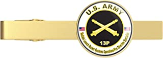 Gold U.S. Army MOS 13P Multiple Launch Rocket Systems Operations Fire Direction Specialist Gold Tie Clip Tie Bar Veteran Gift