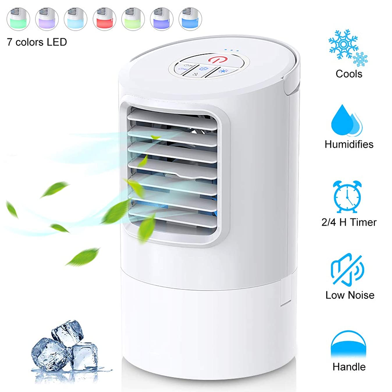 WEINAS Personal Air Conditioner Fan, Personal Space Cooler for Desktop Portable Mini Evaporative Air Cooler, Humidifier Misting Fan Air Conditioner for Room, Office, Kitchen