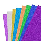 Glitter Cardstock Paper,30 Sheets Sparkly Paper Premium Craft Cardstock Multi Color Rainbow Glitter Cardstock for DIY Gift Box Wrapping Birthday Party Decor Scrapbook, 250 GSM 10 Colors