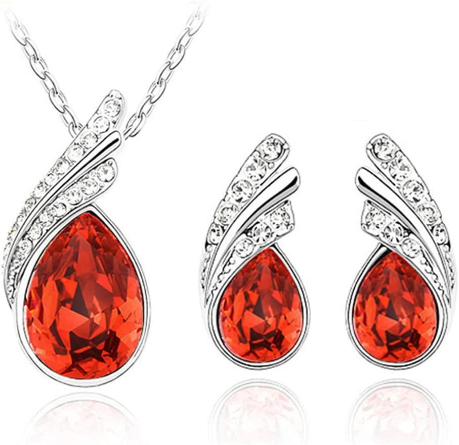 Eleusine Fashion Angel Wings Crystal Pendant Necklace Earring Set for Women Jewelry Accessories Sets (Red)
