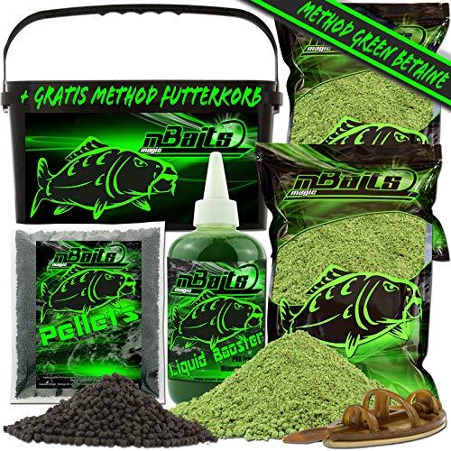 Angel-Berger Magic Baits Method Feeder Futterset Groundbait Liquid Pellets Futterkorb Futtermittel (Green Betain)