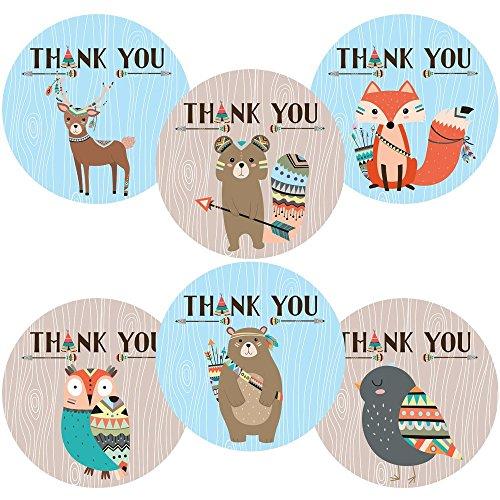 Niño Tribal Woodland Forest Animals Gracias Etiquetas adhesivas - Fiesta de cumpleaños de Baby Shower - Juego de 30