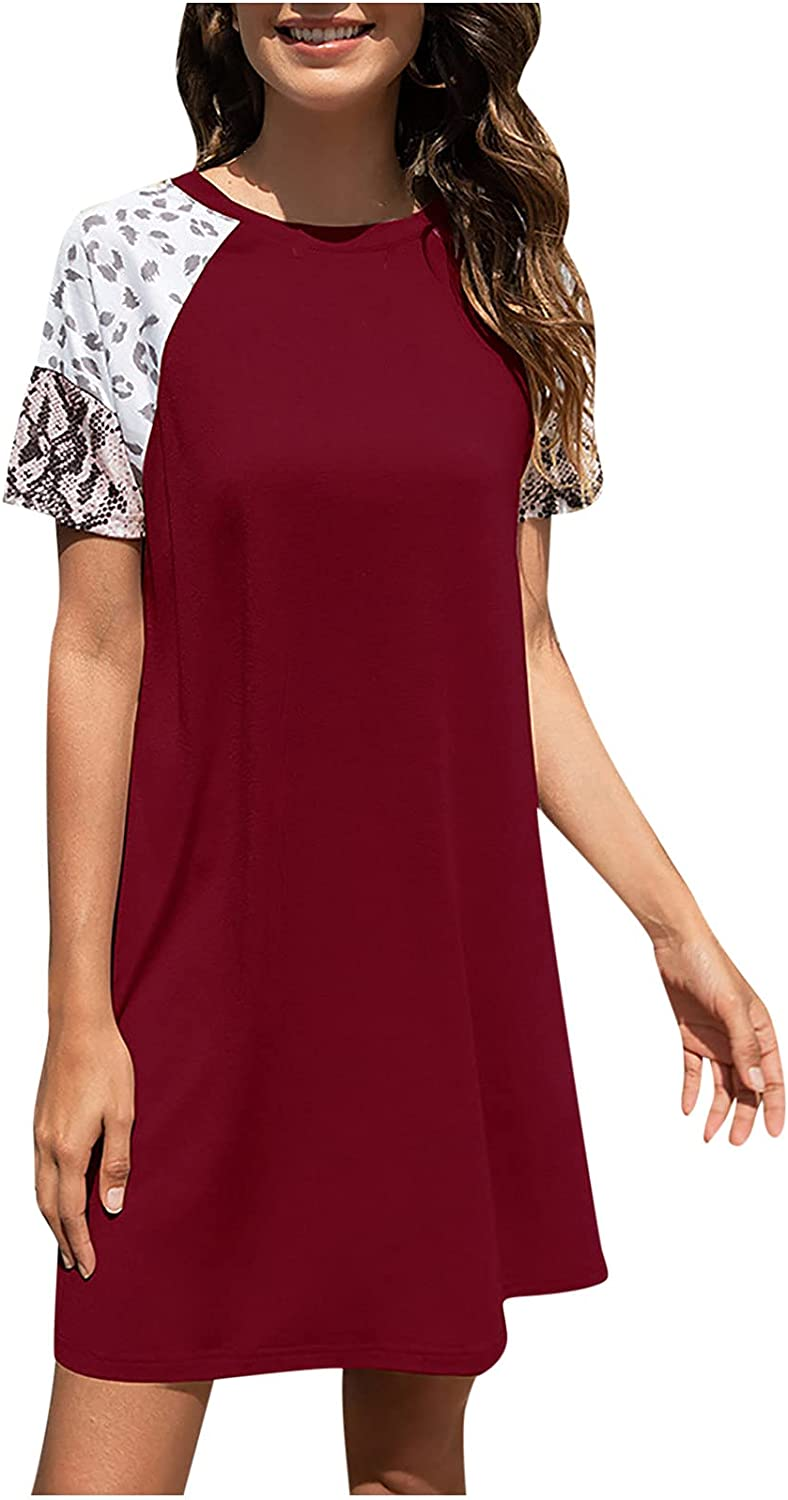 Qonii Loose Dress for Women Max 51% OFF Splicing Dresse Short Sleeve T Low price Shirt