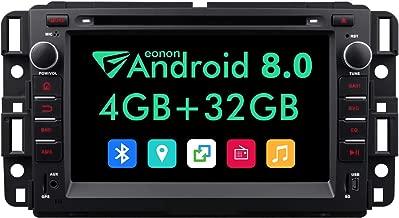 Android Auto Head Unit Double Din Car Stereo,7 Inch Eonon Android 8.0 Car Radio,4GB +32GB Octa-Core Applicable to Chevrolet GMC Silverado Express Avalanche Support Dual Bluetooth WiFi-GA9180A