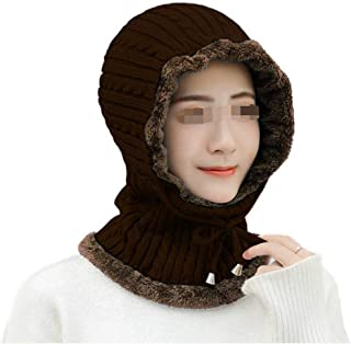 Ladies' Autumn and Winter Wool Hats Twisted Rope Ear Protectors Plus Velvet Warm Knit hat Riding Windproof Pullover Cap WZXSMDY (Color : Coffee, Size : One Size)