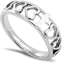 Heart Beat Ring All Things Through Christ My Strength - Phil. 4:13 Stainless Steel Christian Bible Scripture Jewelry