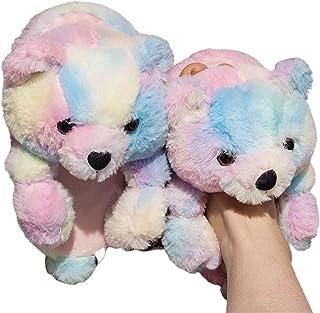 SalLady Fluffy Slides Bear Fuzzy Decorative Breathable Lightweight Furry Winter Slippers Soft Warm Furry Lightweight