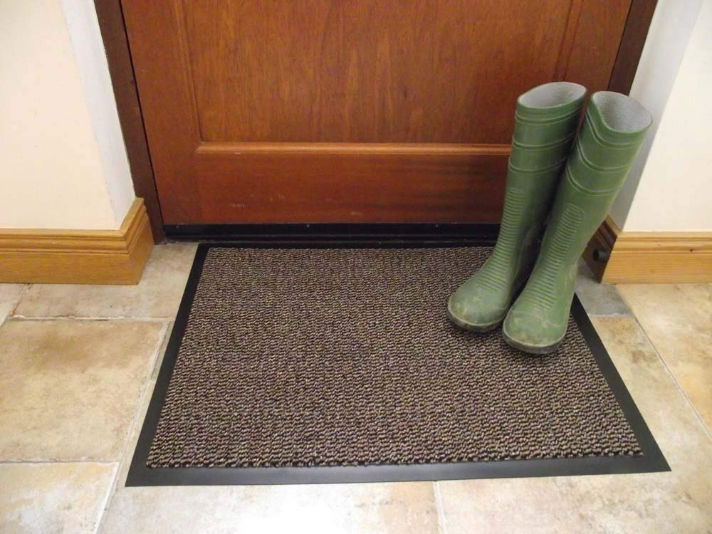 Machine Washable Brown Hardwearing Cotton Mat Available in Small Large and Runner Sizes