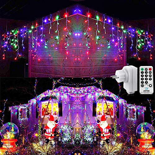 Geemoo Cortina Luces Navidad Exterior, 9M 360 LED Guirnaldas Carámbano luces Prolongable, Cadena Luces de Navidad Decoración para Navidad Fiestas Casa Jardín Habitación Patio Balcón (Colores)