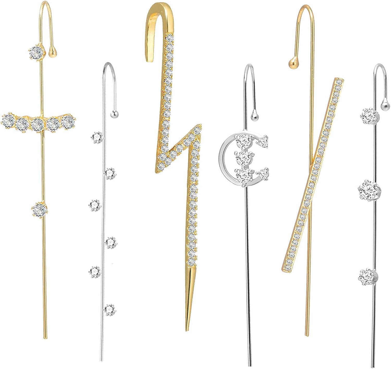 4Pairs Ear Cuff Wrap Crawler Hook Earrings for Women Girls Unique Long Earrings Hypoallergenic Stud Climber Earrings