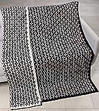 Scandica Couverture en Laine Plaid Tricoté avec Motif Palamuse 140 x 190 cm Noir and...