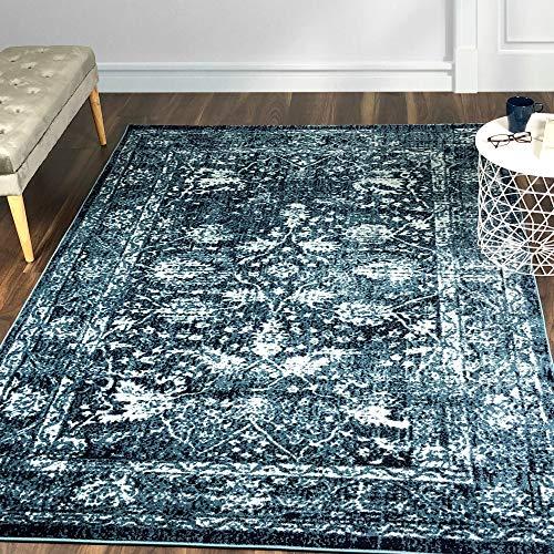 A2Z Rug|Santorini 6076 Navy Blue Vintage Style Floral Pattern With Border|Hallway Traditional Area Runner Rug|Soft Short Medium Pile|60x230cm-1'12' x7'7 ft Long Carpet