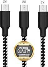 Micro USB Cable, ALEVEL 3Pack 6FT[2M] Nylon Braided USB Charger Cable, USB Charging Cable for Samsung Galaxy J8/J7/S7/S6/Edge/Note5, Sony, HTC, LG, Android Tablets and More - Black White