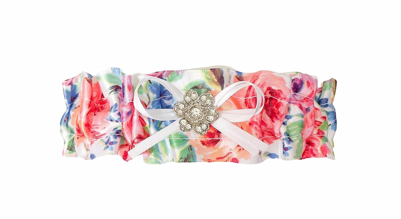 Multi Colored Rose Floral Flower Keepsake Bridal Wedding Fees free!! Garter High material