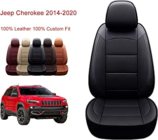 Oasis Auto 2014-2020 Cherokee Custom Fit Leather/Leatherette Seat Cover Compatible with 2014-2015-2016-2017-2018-2019-2020 Jeep Cherokee (Black, 2014-2020 Cherokee)
