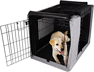 Petsfit Durable Double Door Polyester Dog Crate Cover with Mesh Window