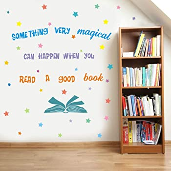 Something Very Magical Can Happen When You Read A Book Wall Decal Colorful Stars Inspirational Quote Sticker For Classroom Kids Room Library Decor Amazon Co Uk Kitchen Home