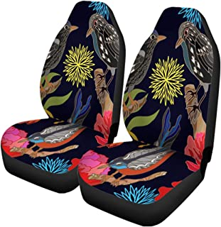 Pinbeam Car Seat Covers Japanese Garden Oriental Pattern Victorian Motifs Blooming Summer Poppies Set of 2 Auto Accessories Protectors Car Decor Universal Fit for Car Truck SUV