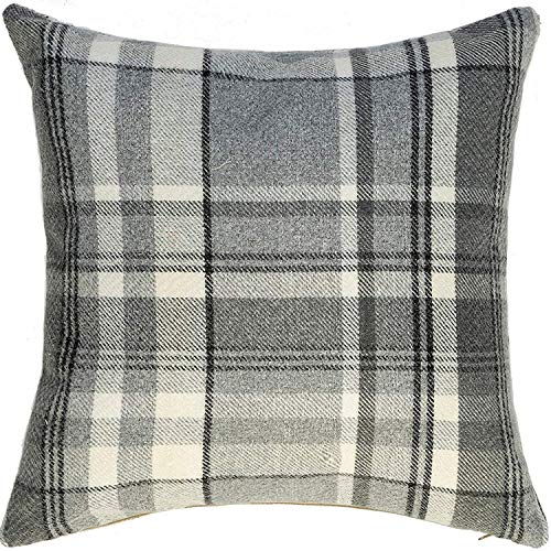 phjyjyeu Heritage Filled Pillow Charcoal Gray Tartan Plaid Wool Room Decor Throw Scatter Cushion Sham For Bedroom Sofa Couch Living Room Dimensions - 16 X 16 Inches 16' X 16'(IN)