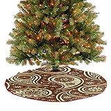 Homesonne Falda de árbol de cachemira con flores abstractas de flores pequeñas, bicolor, decoración inspirada en la naturaleza, adornos para decoraciones navideñas, color marrón marfil, 91,4 cm