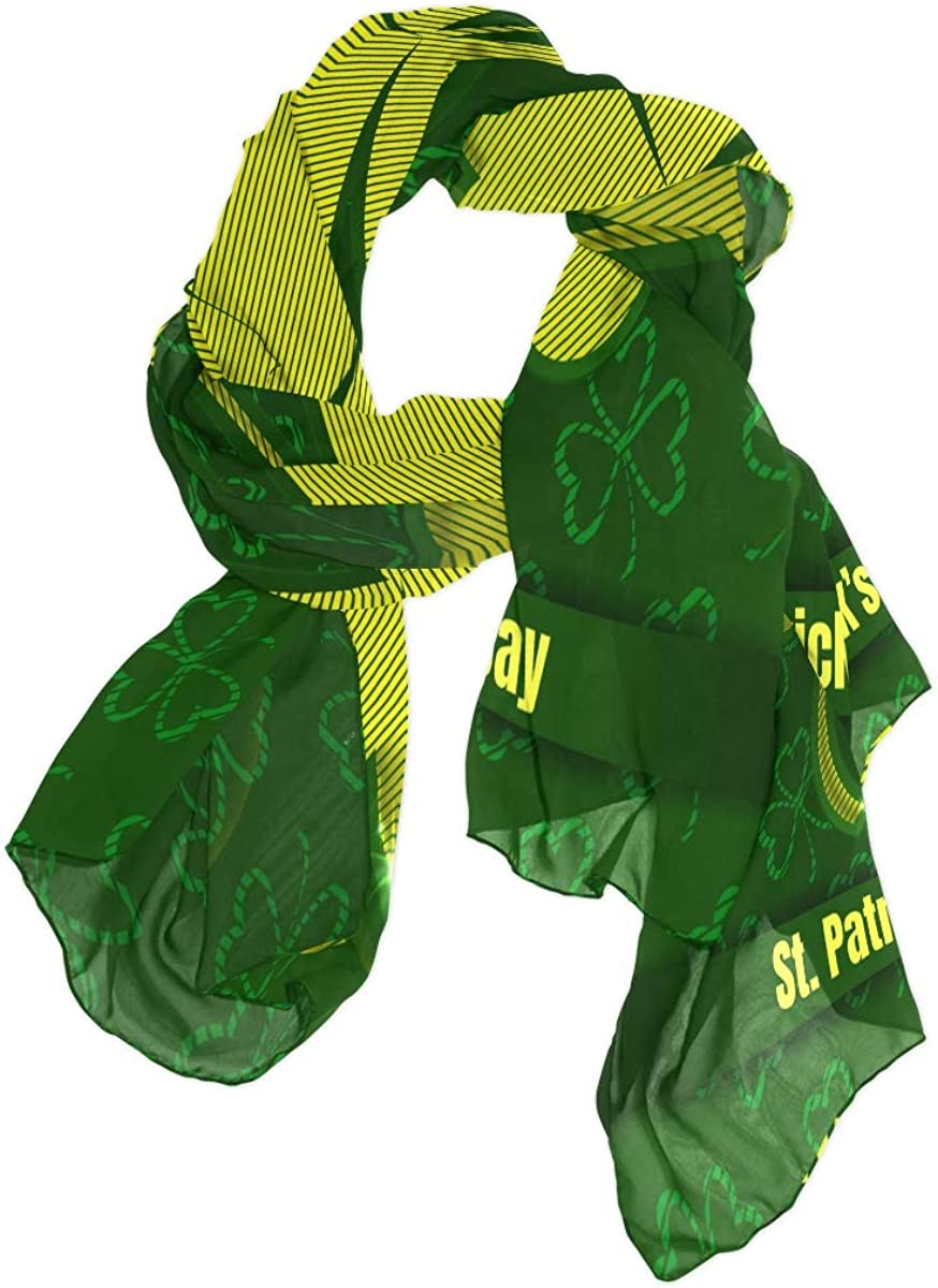 AUUXVA Fashion Scarf Abstract Saint Patrick's Day Clover Long Lightweight Sunscreen Scarf Shawl Wrap Muffler Neckerchief for Women Men