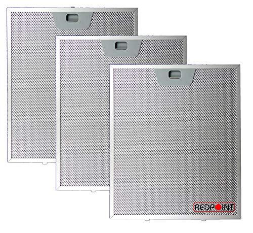 REDPOINT® Set mit 3 Filtern aus Aluminium für Kappen, 253 x 300 x 8 mm, mit unteren Anschlüssen